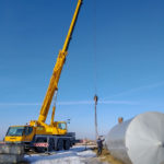 Специалисты ОАО«Слуцкпромбурвод» монтируют водонапорную башню